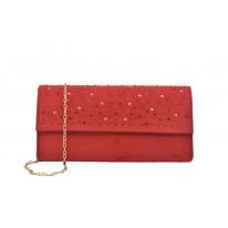 Bolso fiesta brillos-perlas rojo