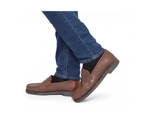 Zapato cómodo piel antifaz piso goma camel