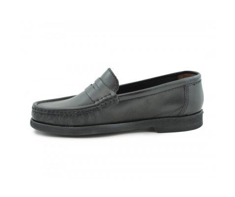 Zapato cómodo piel antifaz piso goma negro