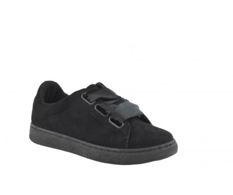 Zapatilla deportiva estilo vintage lazos grandes negro
