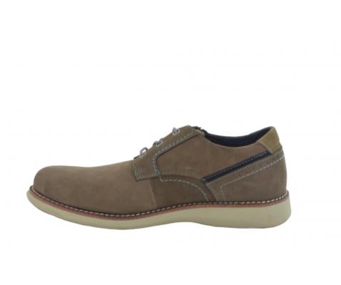 Zapato casual piso blanco piel taupe