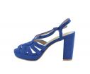 Sandalia fiesta tacón alto tiras cruzadas azul