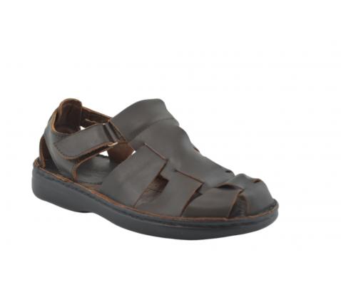 Sandalia cangrejera piel marrón