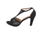 Sandalia tacón brillos negro