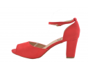 Sandalia fiesta atada tobillo rojo