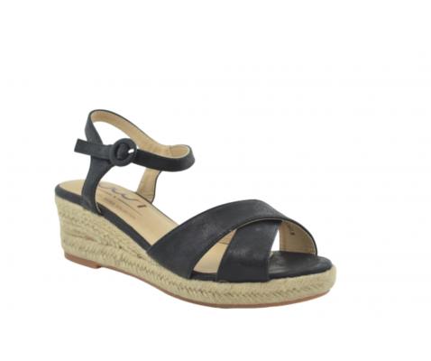 Sandalia de esparto cruzadas negro