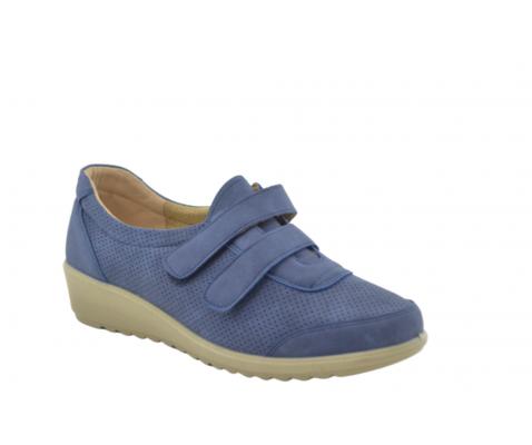 Zapato cuña cómodo velcro marino