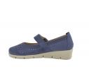Zapato cuña troquelado velcro azul marino