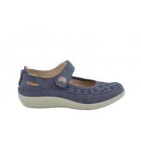 Zapato confort perforado marino