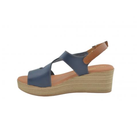 Sandalia cuña piel tira original marino