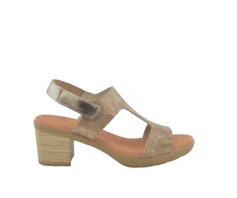 Sandalia piel tacón bajo plantilla gel arena-taupe