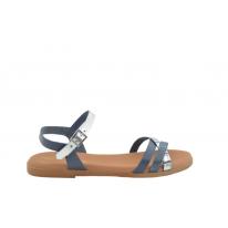 Sandalia plana piel triple tira marino