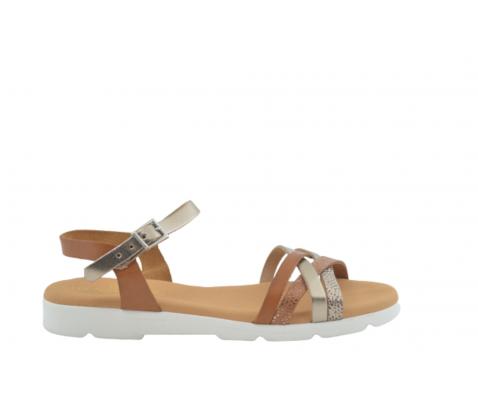 Sandalia plana piel cuatro tiras roble