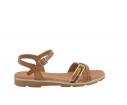 Sandalia plana piel colores tierra roble