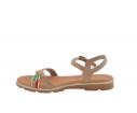 Sandalia plana piel colores combinados taupe