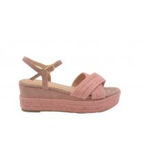 Sandalia plataforma tira cruzada yute rosa