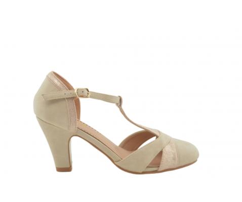 Zapato de salón tacón medio arena