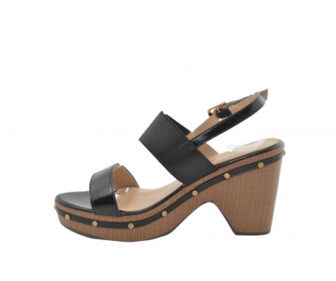 Sandalia tacón alto efecto madera negro