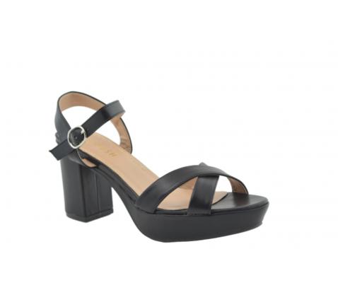 Sandalia tacón cuadrado negro