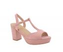 Sandalia tacón punta abierta rosa