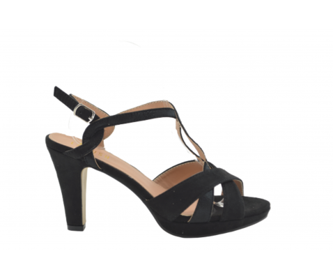 Sandalia tacón alto tiras entrelazadas negro