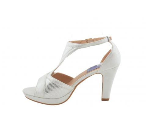 Sandalia tacón brillos plata