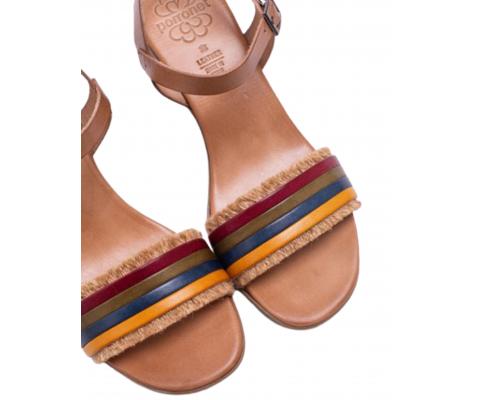 Sandalia tacón ancho tira multicolor taupe - Porronet