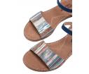 Sandalia piel cuña baja azul - Porronet