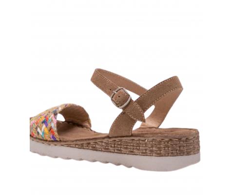 Sandalia cuña baja piel multicolor - Porronet