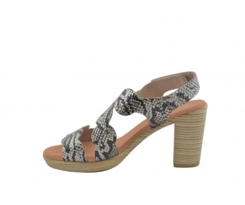 Sandalia tacón piel texturizado serpiente-cava