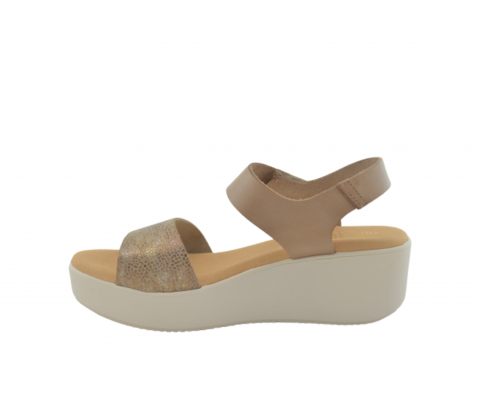 Sandalia piel cuña 4694 taupe