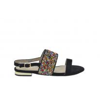 Sandalia plana tubos multicolor negra