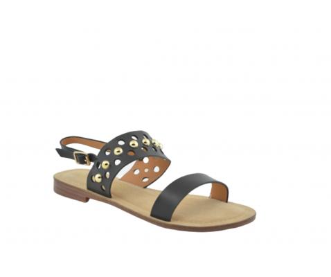 Sandalia plana círculos troquelados negra