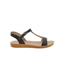 Sandalia plana caña negra