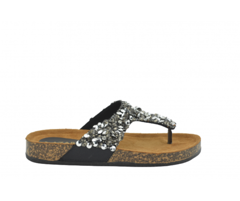 Sandalia esclava pedrería negra