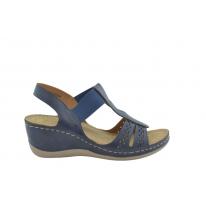 Sandalia cómoda elástico troquelado azul marino