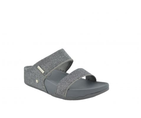 Sandalia esclava plataforma brillos gris