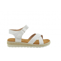 Sandalia plana velcro blanca