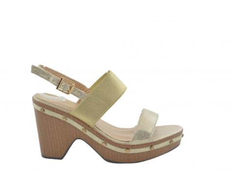 Sandalia tacón alto efecto madera oro