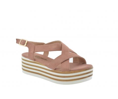 Sandalia plataforma rayas blancas y nude