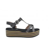 Sandalia plataforma tira brillo rayas camel y negro