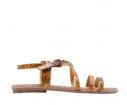 Sandalia multitiras floral mostaza - Porronet