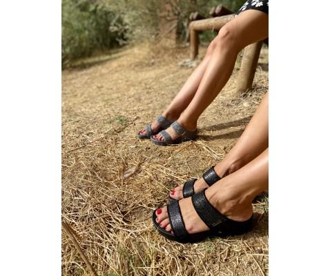 Sandalia plataforma brillos gris