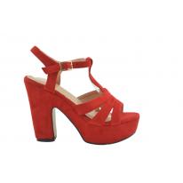 Sandalia tacón alto con plataforma rojo