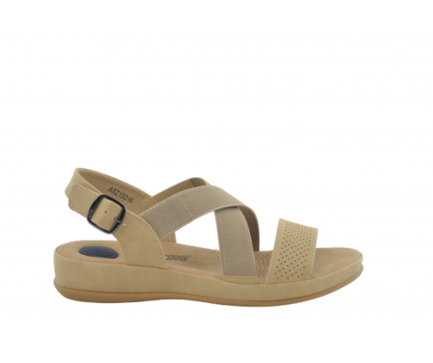 Sandalia cómoda tiras elásticas beige