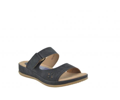Sandalia estilo zueco velcro negro