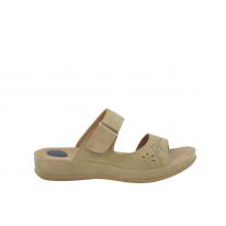 Sandalia estilo zueco velcro beige