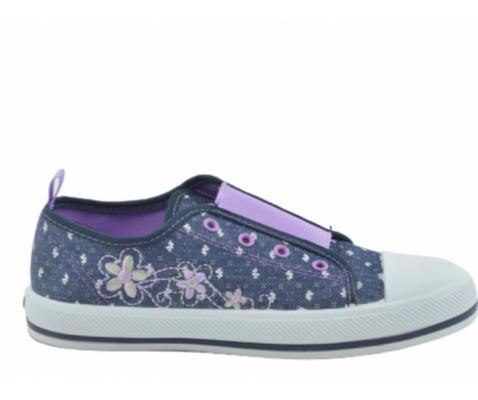 Zapatilla deportiva lona flores vaquero niña