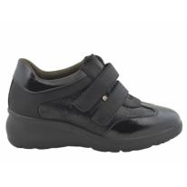 Zapatilla deportiva cómoda cuña interior velcro negro
