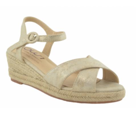 Sandalia de esparto cruzadas oro